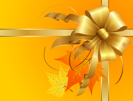 Thanksgiving Bow of golden ribbons with autumn leaves. The main objects as usual are layered separately and hi res jpeg included. Illustration