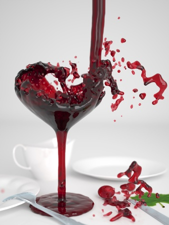Pouring red wine into the form of a wineglass heart
