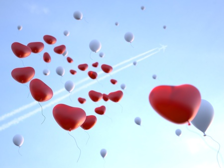 Soaring high in the sky red and white balloons in form of the heart. 3d render.