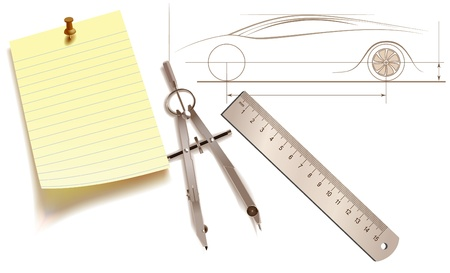 Ruler, pair of compasses and a sticker - the attributes of workplace designer Illustration