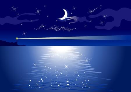 lighthouse at night: La luz del faro y la media luna sobre el mar por la noche. Vectores
