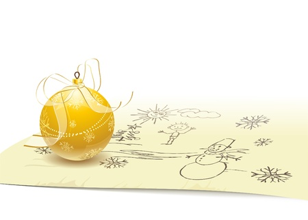 Gold Christmas ball with a transparent bow and ribbon on background of childrens Christmas drawing. Files included EPS 8.0, High-Res JPEG and AI 10. You can also view my other Christmas illustrations.