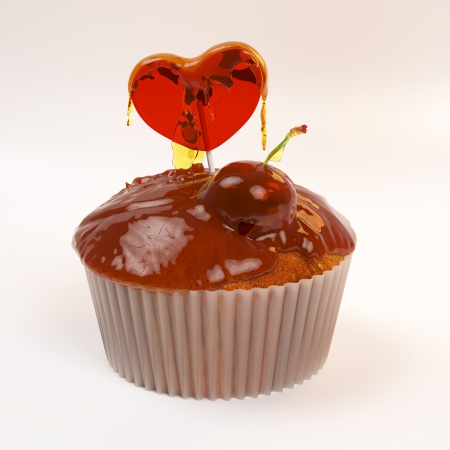 Cupcake for Valentines day with honey, cherry and heart candy