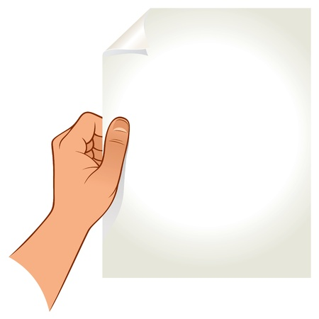 Hand holding paper isolated on white background Illustration