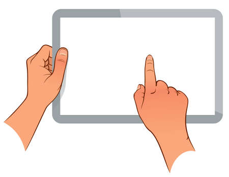 tablet pc in hand: Hand holding a touchpad pc  tablet  isolated on white Illustration