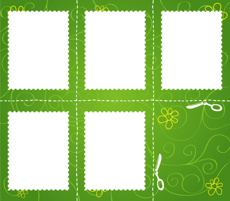 Set of cut marks on green background