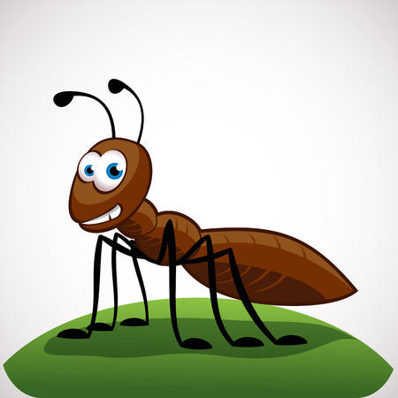 Funny ant cartoon character isolated on white background