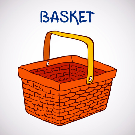 Shopping basket sketch icon isolated on white