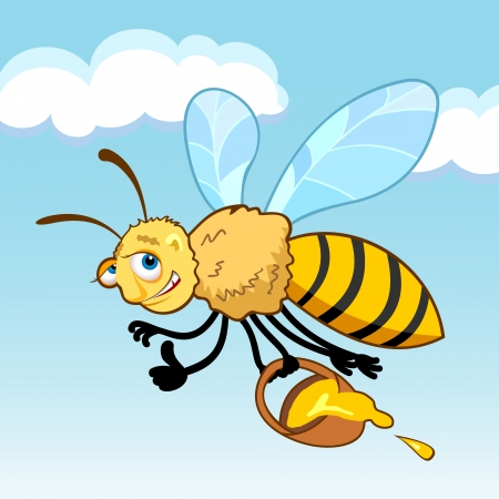 Honey bee cartoon in fly holding a basket with honey