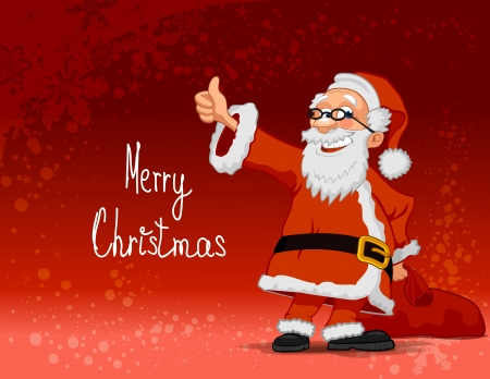 Smiling Santa Claus cartoon character carrying bag on red background