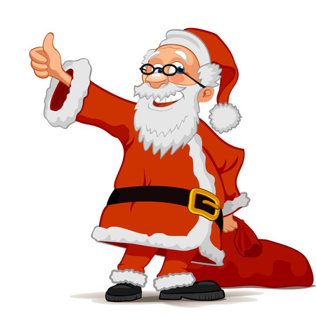Smiling Santa Claus cartoon character with a bag isolated on white background