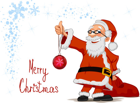 Smiling Santa Claus cartoon character holding in hands a Christmas ball and bag isolated on white background
