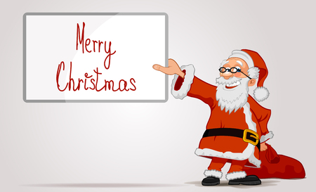 Smiling Santa Claus cartoon character holding in hands a frame and bag isolated on white background