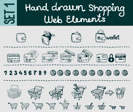 e wallet: Web elements sketches set for shopping and e-commerce website   Illustration