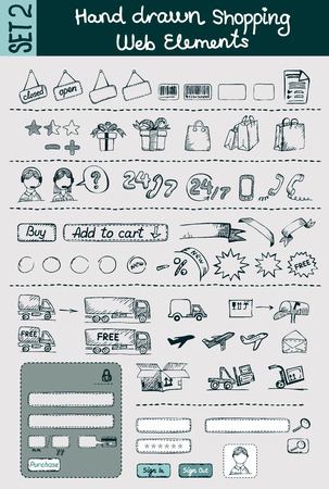Hand drawn vector shopping and e-commerce elements set for website design   Illustration