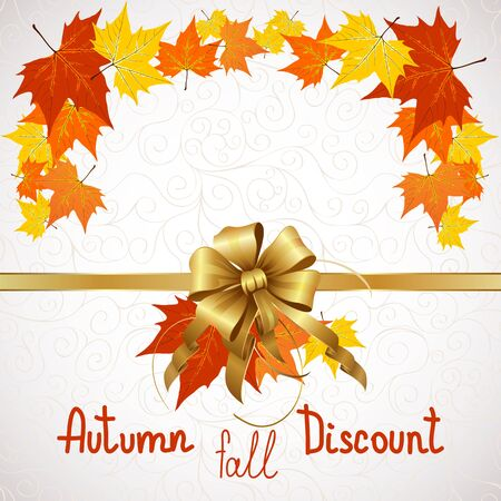 Vector illustration of autumn sales and discounts for advertising with a bow in the middle.
