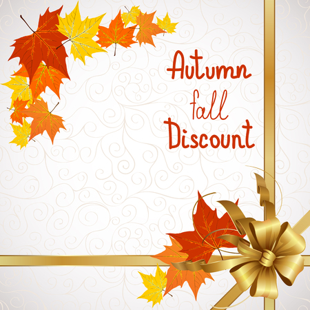 Vector illustration of autumn sales and discounts for advertising with a bow in the corner. Vector