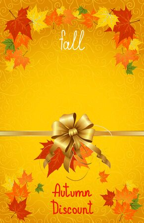 Vector illustration of autumn sales and discounts for advertising with a bow in the middle on yellow background.