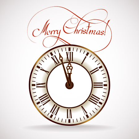 Vector silhouette of the old clock showing the Christmas time