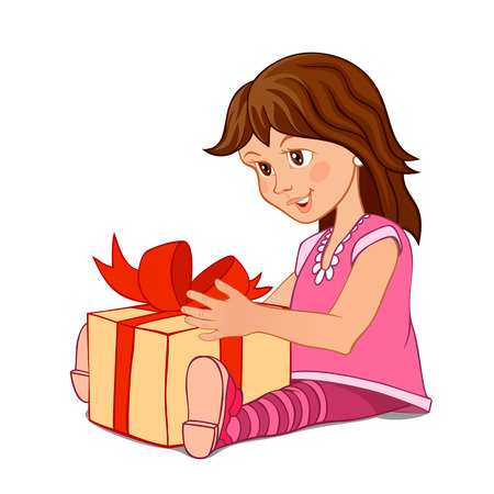 A little girl in a pink dress with a gift box isolated on white background  Fully layered EPS10