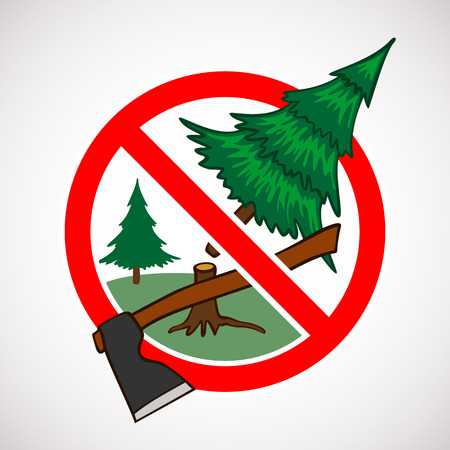 cutting: Stop cutting down live trees for Christmas sign Illustration