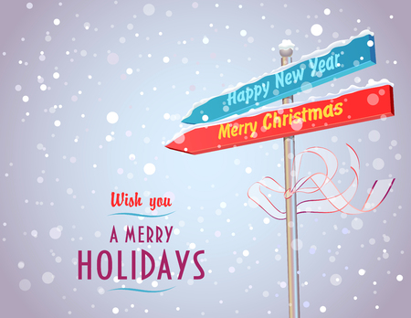 Concept of road sign with arrows in Christmas and New Year directions  Fully layered EPS 10 Illustration