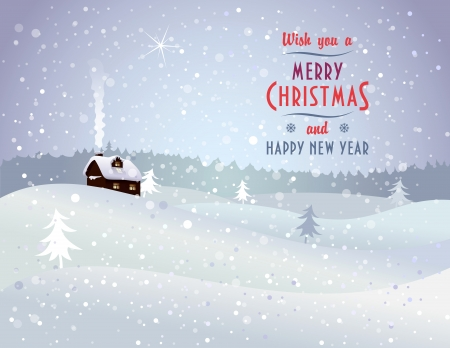 Christmas landscape with house and snowfall - Vector illustration with Merry Christmas and Happy New Year lettering greeting  Illustration