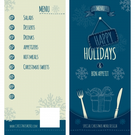 Special menu design for Christmas and New Year holidays, cover and backcover  Fully layered EPS 10