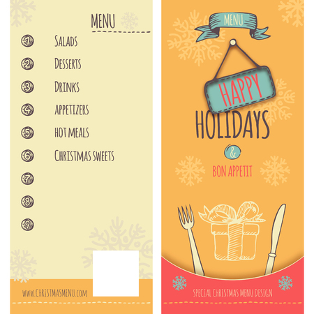 Special menu design in retro style for Christmas and New Year holidays, cover and backcover  Fully layered EPS 10  Illustration