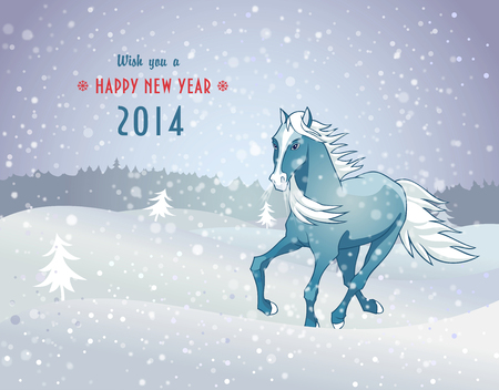 Vector illustration of winter landscape with snow blue horse - the symbol of new year 2014