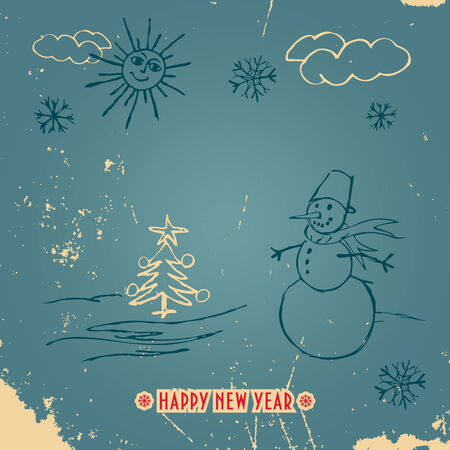 Doodle New Year card with a snowman in vintage style with title