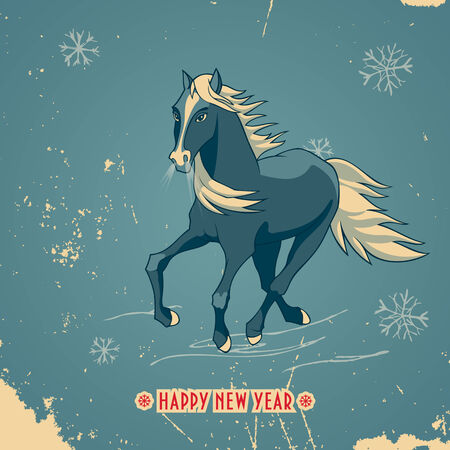 Happy New Year card with a galloping horse in vintage style with title  The symbol of New Year 2014 Illustration