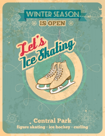 Ice skating poster in retro style with titles  Fully layered EPS 10