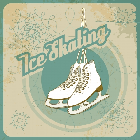 Ice skating card in retro style  Fully layered EPS 10