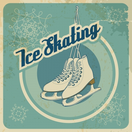 Ice skating card in retro style with blue background  Fully layered EPS 10  Vector