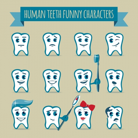 Vector icons set of human teeth funny cartoon characters with various emotions