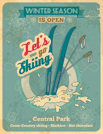 冬のシーズンは開いている - タイトルでレトロなスタイルのポスターはスキーに行くことができます。