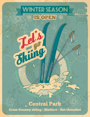 Winter season is open - lets go skiing poster in retro style with titles  Illustration