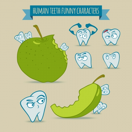 Vector set of human teeth funny cartoon characters with green apple. Fully layered EPS 10. Illustration