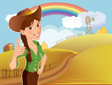 Cartoon character of a young girl on a ranch farm after harvest
