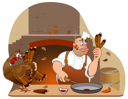 Chef tries to cook a turkey for Thanksgiving day Illustration
