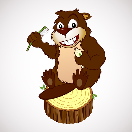 Cartoon characters smiling beaver holding in paws a toothbrush and toothpaste Illustration