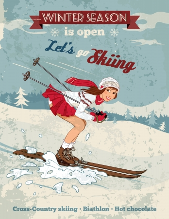 Winter sport poster in retro style with pin-up girl and titles. Fully layered EPS 10. Illustration