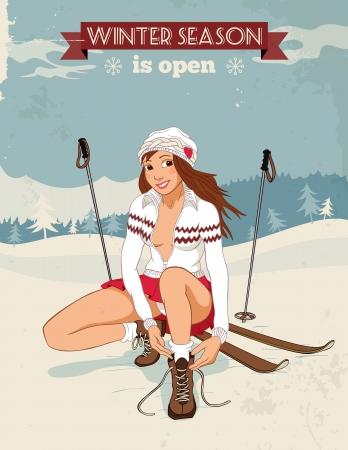 스키 타는 사람: 아름다운 핀 - 업 소녀가 신발 끈을 묶는 복고 스타일에 포스터를 스키.