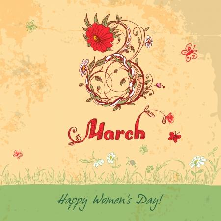 d�a s: D�a de la Mujer s de la tarjeta de 08 de marzo de la vendimia