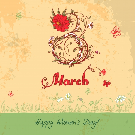 8 march: Women s Day March 8 vintage card Illustration