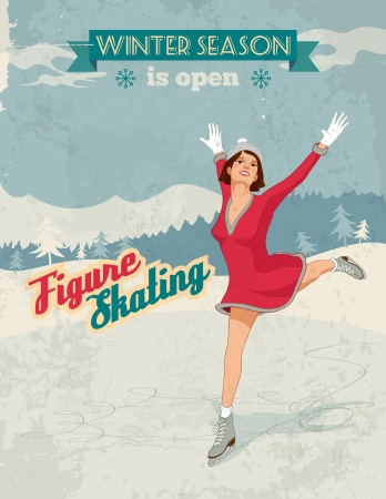 Winter sport poster in retro style with figure skater girl and titles  Fully layered