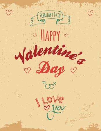 Vintage Valentine greeting card Illustration