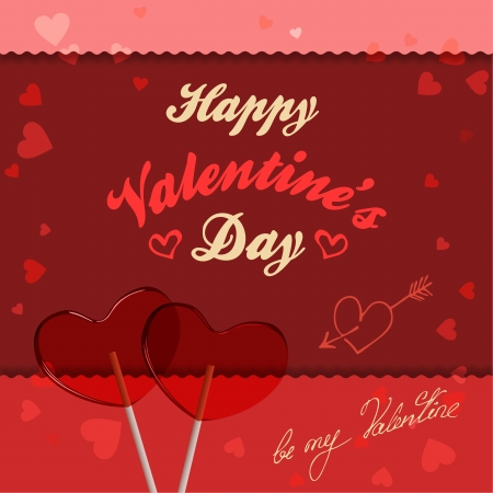 Valentine s Day greeting card with lollipops heart-shaped
