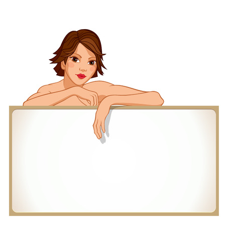 Girl leaning against a blank board isolated on a white